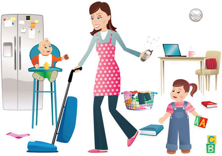 mess: An illustration of a young mother busy around the house.