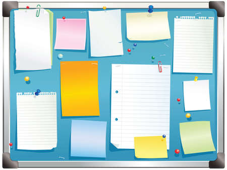 notelet: An illustration of a typical aluminium framed notice board. Plenty of blank space for your own message.