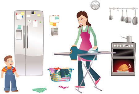 An illustration of a young mother doing chores around the home.