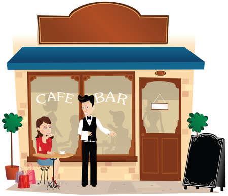An illustration of a waiter serving a customer outside a cafe bar.
