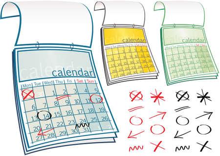 Three illustrations of a generic calendar, plus assorted symbols.
