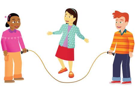 Een groep kinderen die een springtouw gebruiken. Stock Illustratie