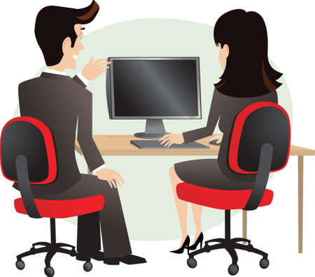 computerized: An image of two business people looking at a computer. Screen is blank for your own message.