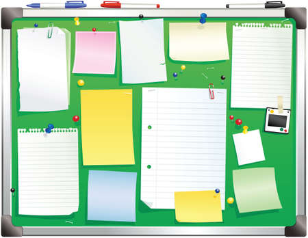 notelet: An illustration of a green bulletin board you could find in any office. Plenty of blank space for your own message.