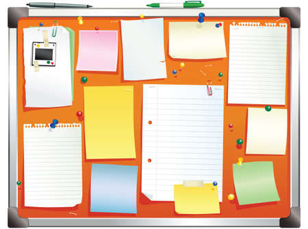 notelet: An illustration of a typical office bulletin board. Plenty of blank space for your own message.