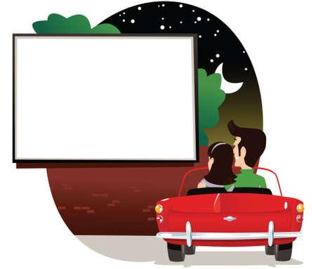 Una pareja viendo una pantalla de cine al aire libre en la noche en su coche. Foto de archivo - 79448698