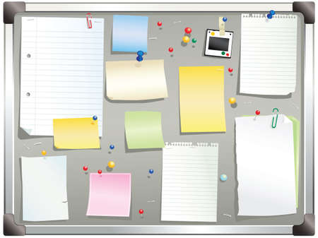 notelet: An illustration of a typical noticeboard you might find in any office. Plenty of blank space for your own message.