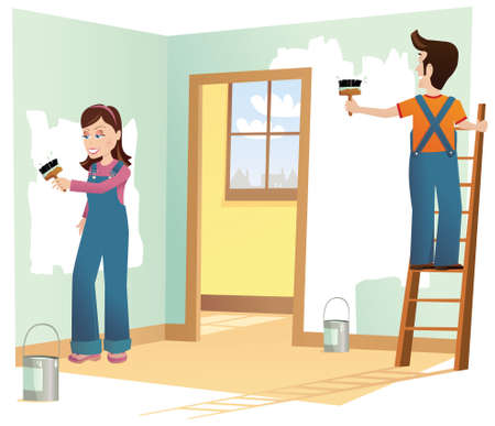 papering: A couple renovating a room in a house. Illustration