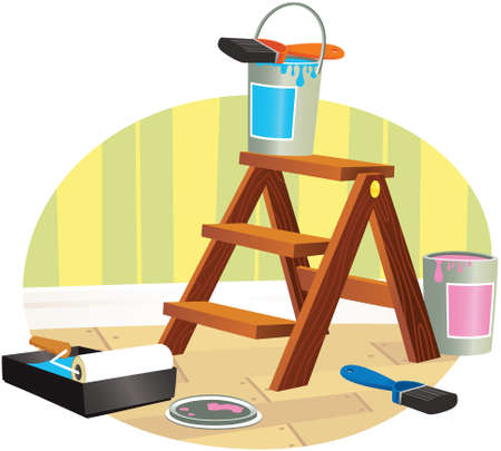 A detail illustration of some small wooden steps and painting equipment.