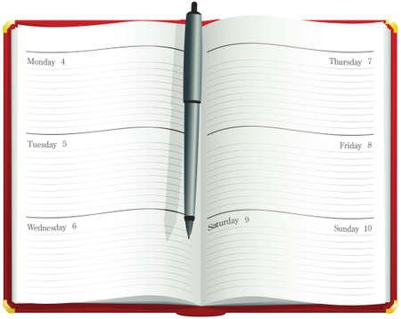 Een illustratie van een open bureauagenda. Dagboek heeft geen specifieke data of jaren en kan dus altijd worden gebruikt.