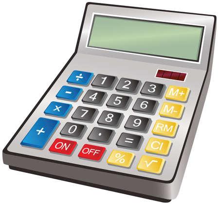 Een illustratie van een typische bureau calculator. Stock Illustratie
