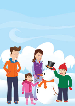 A young family building a snowman.