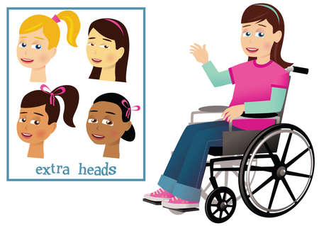 A young girl in a wheelchair. Different assorted heads also.