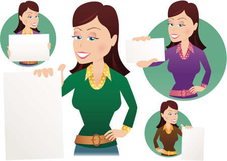notelet: Various images of a woman holding blank signs, ready for your own message. Illustration