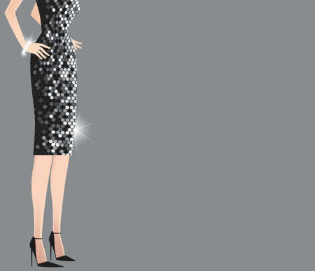 glitzy: An image of the torso and legs of a woman wearing a sequined dress, with plenty of space for your own message.