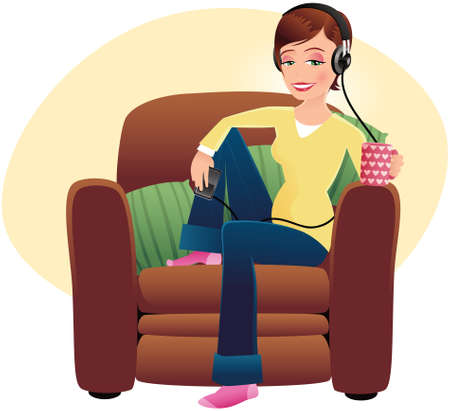 An image of a woman listening to music on her media device. Illustration