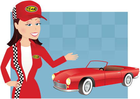 A young female mechanic gesturing to a sports car.