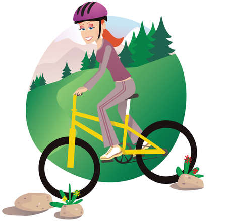 A young woman cycling on her mountainbike. Illustration