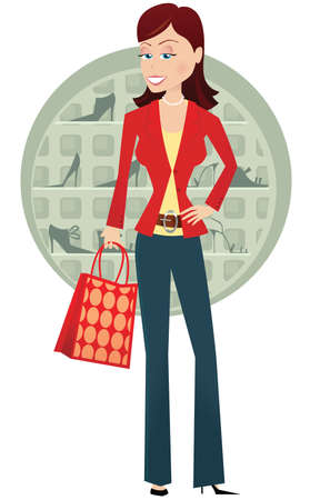 An image of a young woman out shoe shopping.