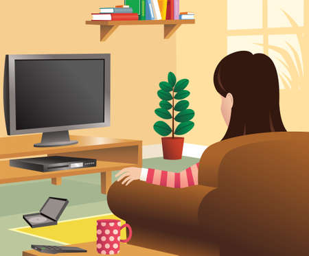An image of a woman watching TV in her living room. TV is blank for your own message.