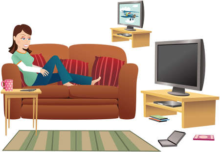 dvd room: An image of a woman relaxing on her sofa, watching TV. TV is blank for your own message. Illustration