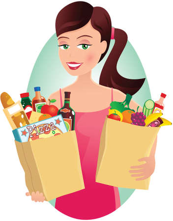 An image of a young woman carrying her groceries. Illustration