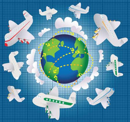 short trip: An cartoon illustration showing international air travel.