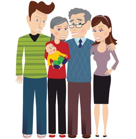 An image of a three generation family posing with the newborn. Ilustração