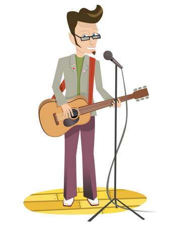 A man playing an acoustic guitar on stage. Illustration