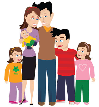 An image of a large family with their newborn child.