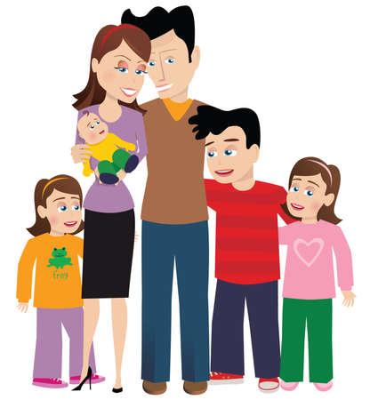 Ein Bild von einer großen Familie mit ihrem Neugeborenen.