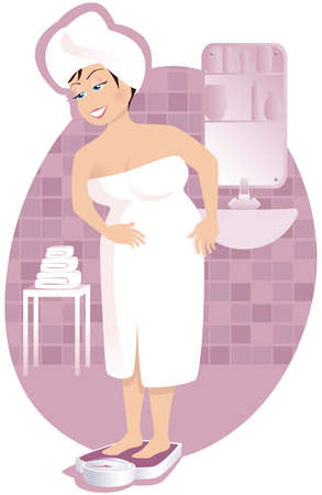 An image of a larger woman weighing herself in the bathroom.