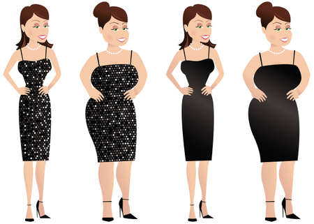Four illustrations of a slim and larger woman, in both sequined and plain dress.