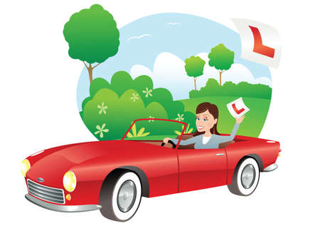 An image of a young woman who has just passed her driving test. Illustration