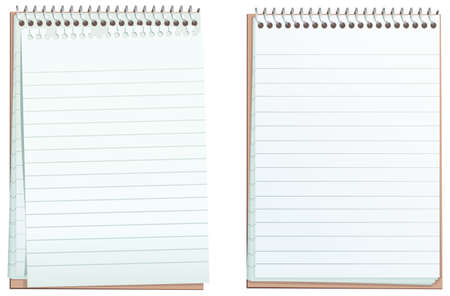 Two illustrations of a typical small lined notepad, one with ripped top sheet.