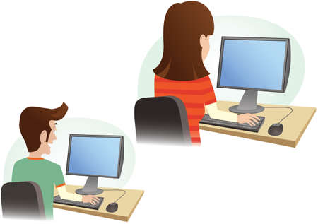 Two detail illustrations of people using computers. Screens are blank for your own message.