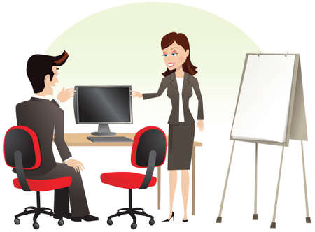 computerized: Two business people having a meeting in an office. Plenty of blank space for your own message.