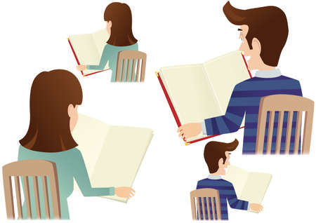 Four illustrations of people holding a large book or menu. Plenty of space for your own message.
