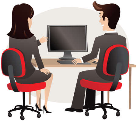 Two business colleagues having a meeting at a computer.