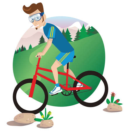 A young man mountain biking down a hill.