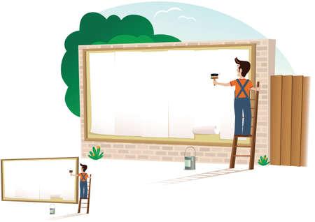 A man putting up a new poster on a billboard. Vektoros illusztráció