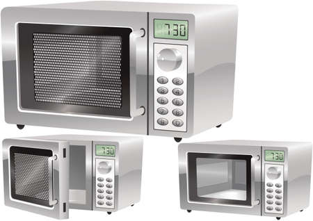 Illustrations of a typical stainless steel microwave oven.