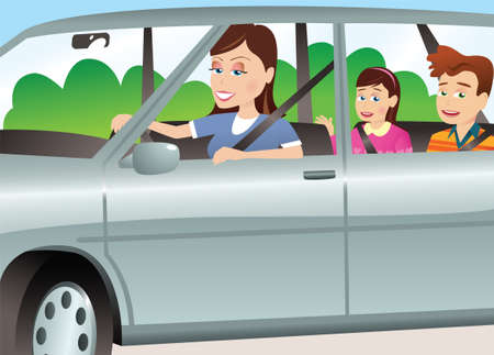 A young mother driving her kids in an auto. Ilustração