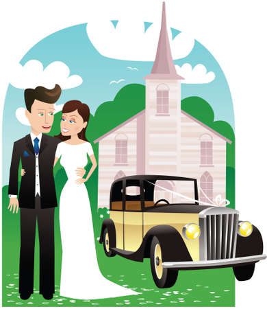 guy standing: A newlywed couple posing outside a church on their wedding day.