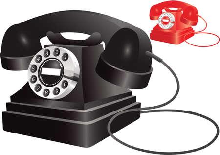Dos teléfonos antiguos en colores negro y rojo. Foto de archivo - 79781359