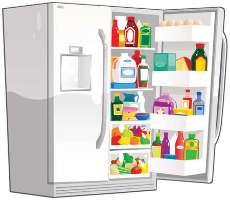 A large double fridge freezer unit, with one door open.