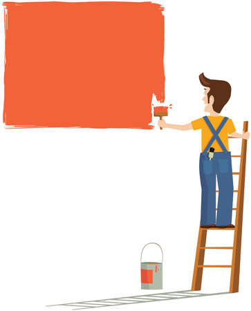 An image of a workman painting a wall.