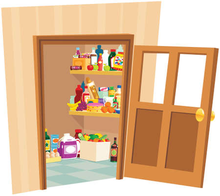 An illustration of a pantry room or food cupboard.