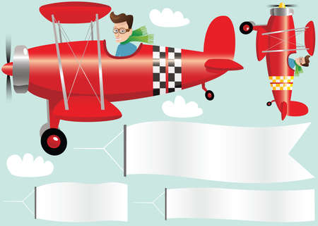Two illustrations of a red biplane and various banners.