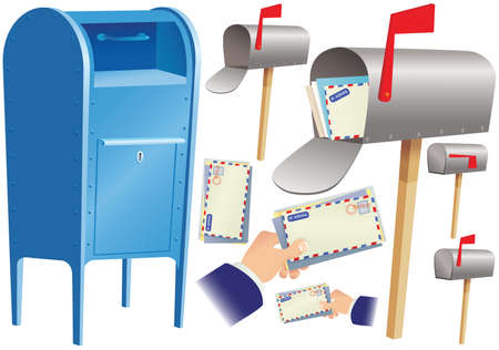 man carrying box: Various postal service themed images.